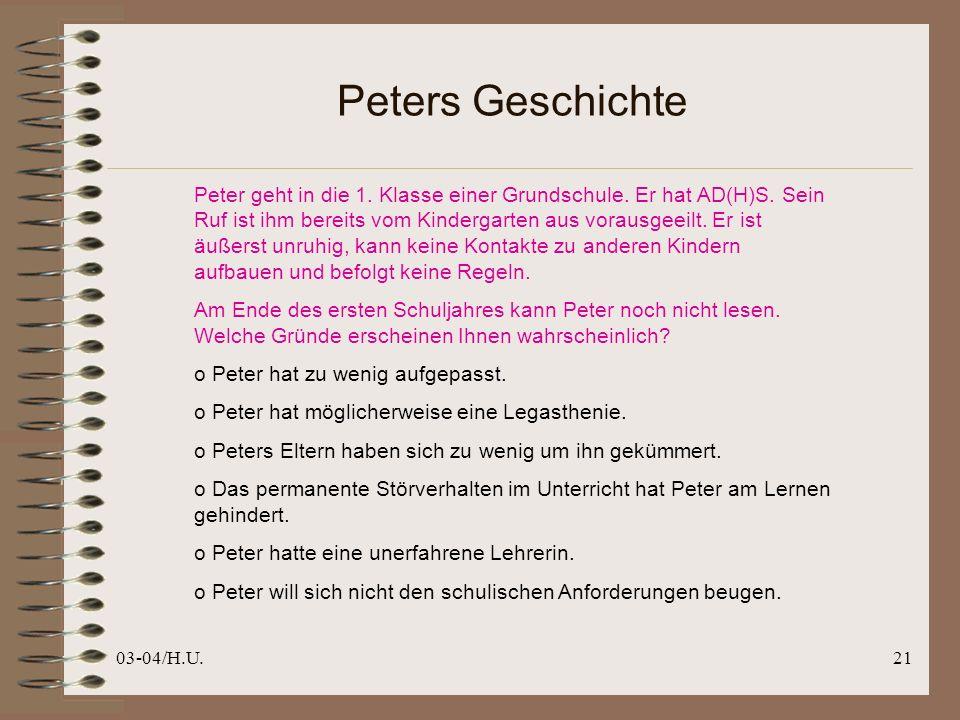 03-04/H.U.21 Peters Geschichte Peter geht in die 1.