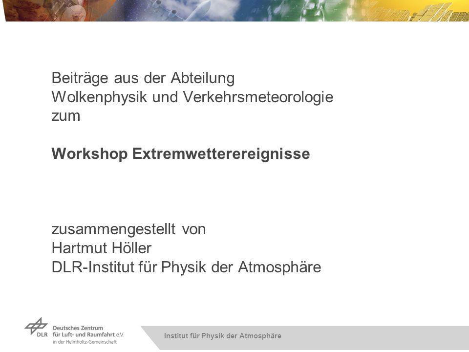 Institut für Physik der Atmosphäre Beiträge aus der Abteilung Wolkenphysik und Verkehrsmeteorologie zum Workshop Extremwetterereignisse zusammengestel