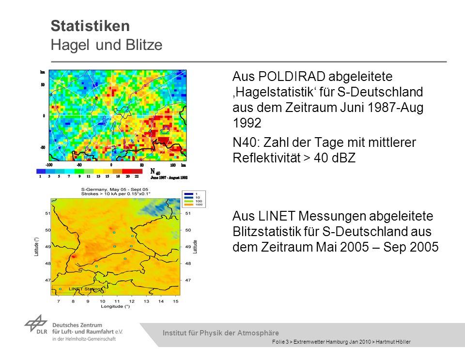 Institut für Physik der Atmosphäre Folie 3 > Extremwetter Hamburg Jan 2010 > Hartmut Höller Statistiken Hagel und Blitze Aus POLDIRAD abgeleitete Hage