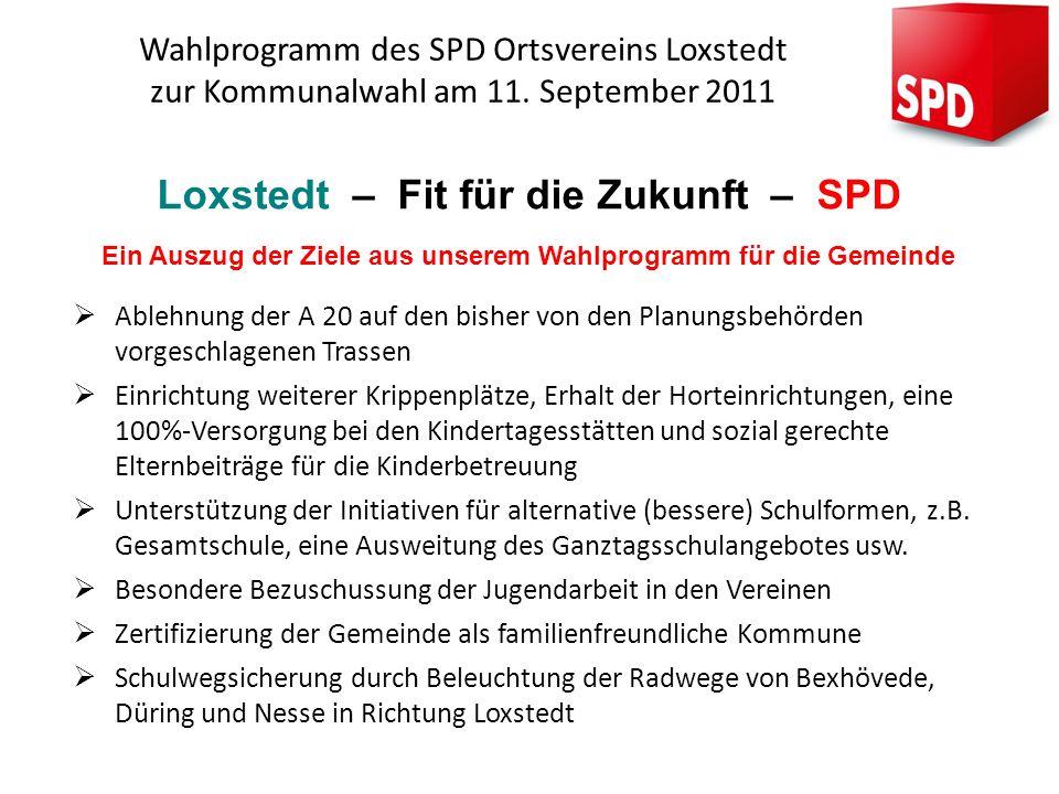Wahlprogramm des SPD Ortsvereins Loxstedt zur Kommunalwahl am 11. September 2011 Loxstedt – Fit für die Zukunft – SPD Ein Auszug der Ziele aus unserem