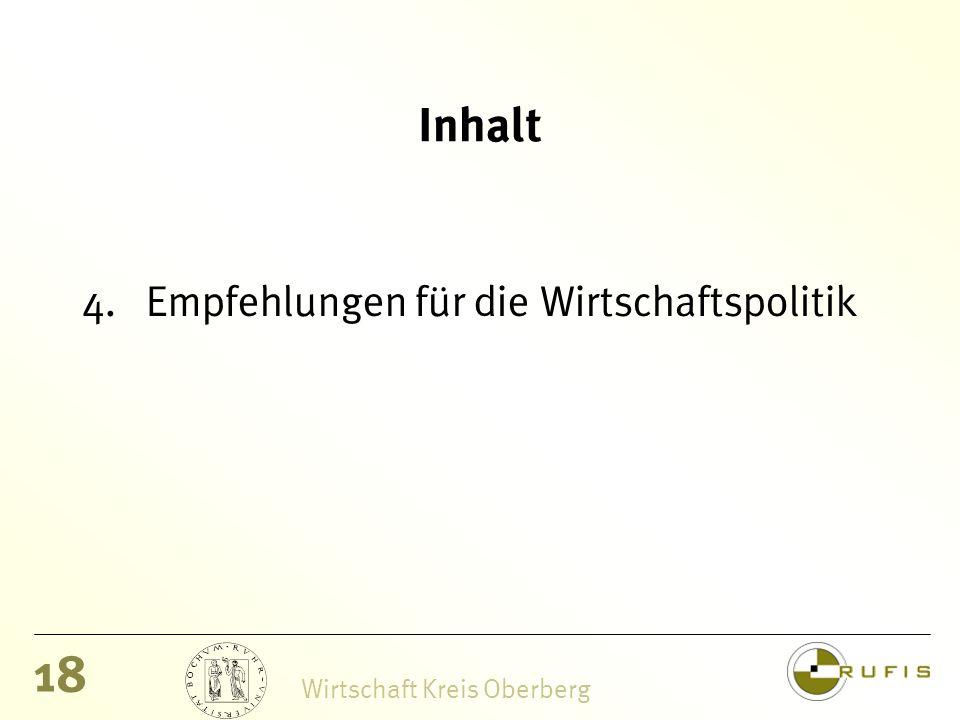 18 Wirtschaft Kreis Oberberg Inhalt 4.Empfehlungen für die Wirtschaftspolitik