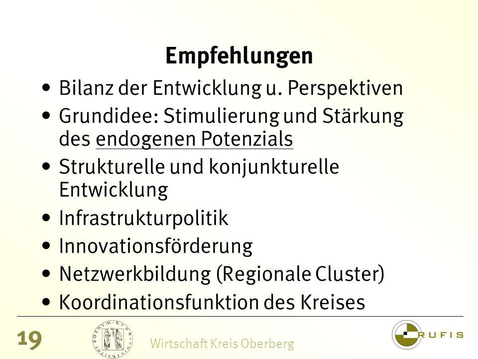 19 Wirtschaft Kreis Oberberg Empfehlungen Bilanz der Entwicklung u.