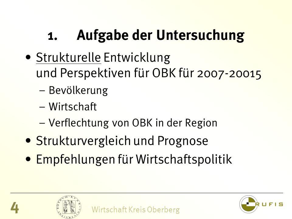 4 Wirtschaft Kreis Oberberg 1.Aufgabe der Untersuchung Strukturelle Entwicklung und Perspektiven für OBK für 2007-20015 – Bevölkerung – Wirtschaft – Verflechtung von OBK in der Region Strukturvergleich und Prognose Empfehlungen für Wirtschaftspolitik