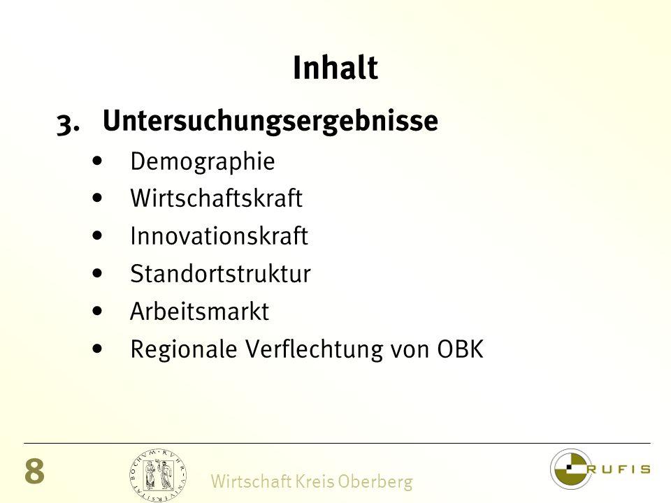 8 Wirtschaft Kreis Oberberg Inhalt 3.Untersuchungsergebnisse Demographie Wirtschaftskraft Innovationskraft Standortstruktur Arbeitsmarkt Regionale Verflechtung von OBK
