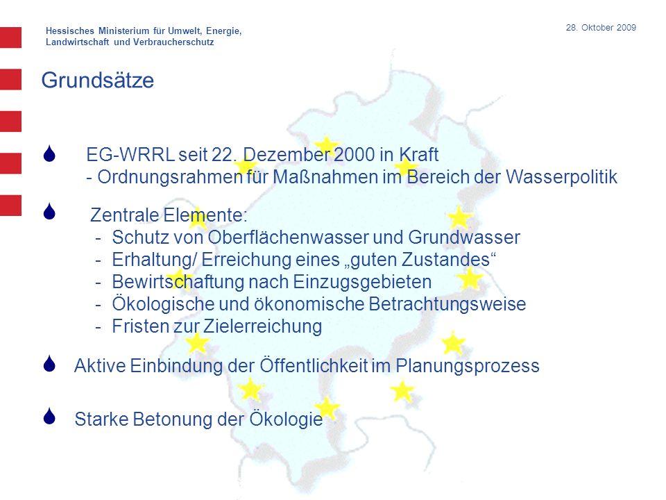 Hessisches Ministerium für Umwelt, Energie, Landwirtschaft und Verbraucherschutz 28. Oktober 2009 Grundsätze EG-WRRL seit 22. Dezember 2000 in Kraft -