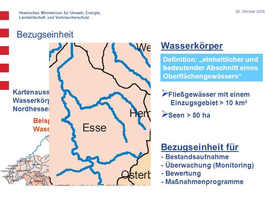 Hessisches Ministerium für Umwelt, Energie, Landwirtschaft und Verbraucherschutz 28. Oktober 2009 Bezugseinheit für - Bestandsaufnahme - Überwachung (