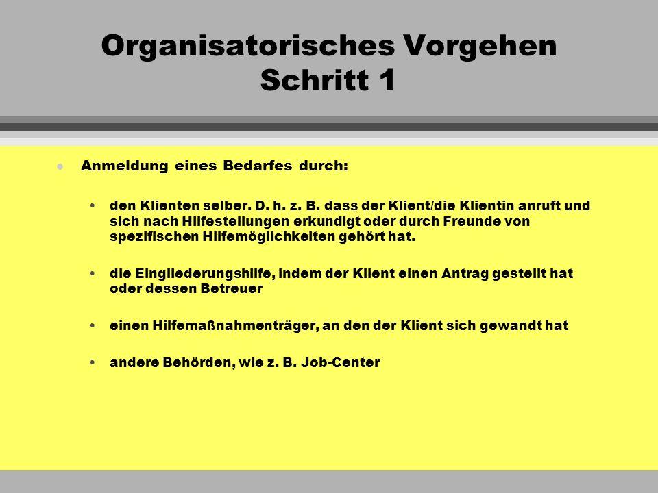 Organisatorisches Vorgehen Schritt 1 l Anmeldung eines Bedarfes durch: den Klienten selber. D. h. z. B. dass der Klient/die Klientin anruft und sich n