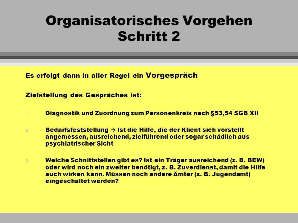 Organisatorisches Vorgehen Schritt 2 Es erfolgt dann in aller Regel ein Vorgespräch Zielstellung des Gespräches ist: 1. Diagnostik und Zuordnung zum P