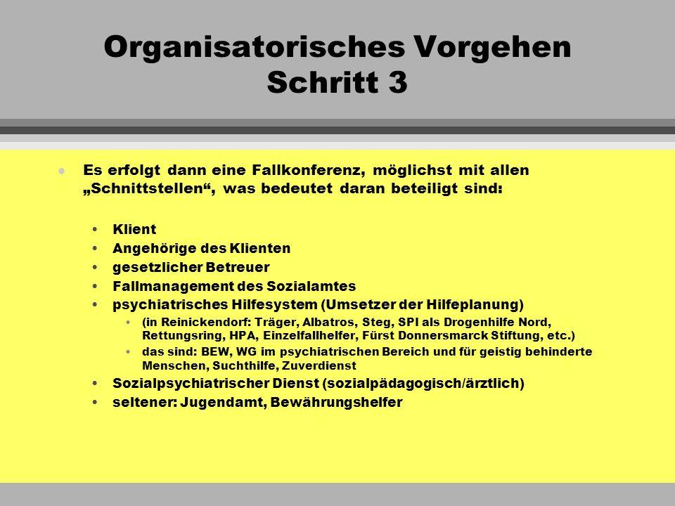 Organisatorisches Vorgehen Schritt 3 l Die Fallkonferenz fasst die Ergebnisse des vorangegangenen Berichtszeitraumes zusammen, wenn es sich um eine schon bestehende Hilfe handelt, resp.