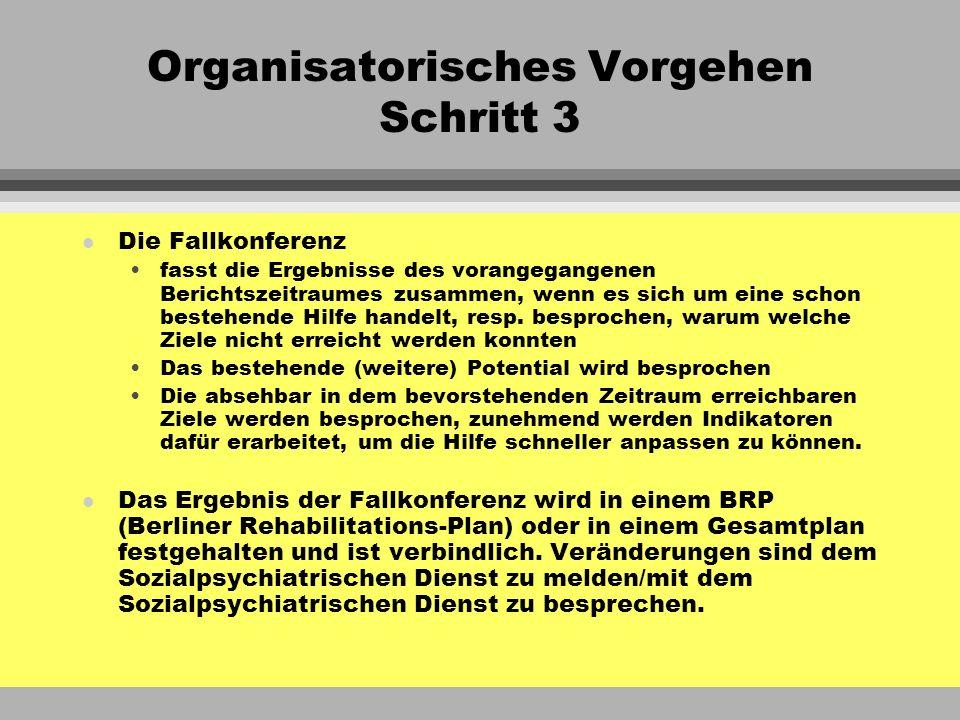 Organisatorisches Vorgehen Schritt 3 l Die Fallkonferenz fasst die Ergebnisse des vorangegangenen Berichtszeitraumes zusammen, wenn es sich um eine sc