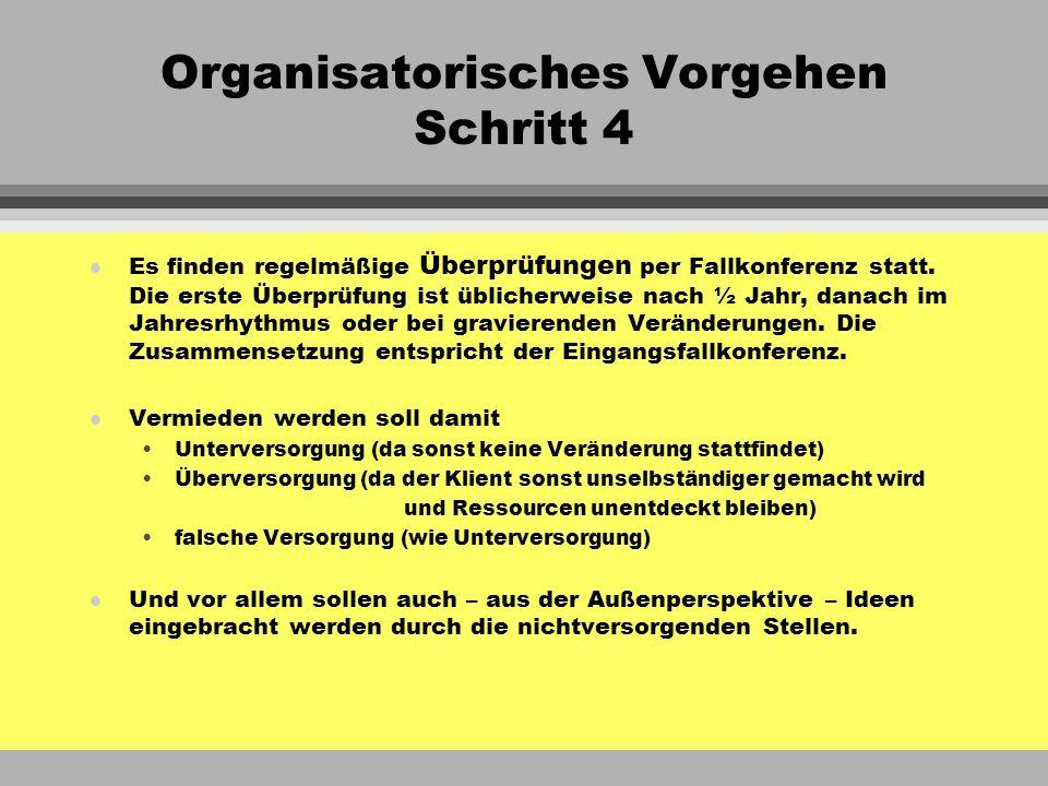 Organisatorisches Vorgehen Schritt 4 l Es finden regelmäßige Überprüfungen per Fallkonferenz statt. Die erste Überprüfung ist üblicherweise nach ½ Jah