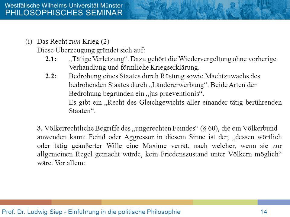 Prof. Dr. Ludwig Siep - Einführung in die politische Philosophie14 (i)Das Recht zum Krieg (2) Diese Überzeugung gründet sich auf: 2.1:Tätige Verletzun