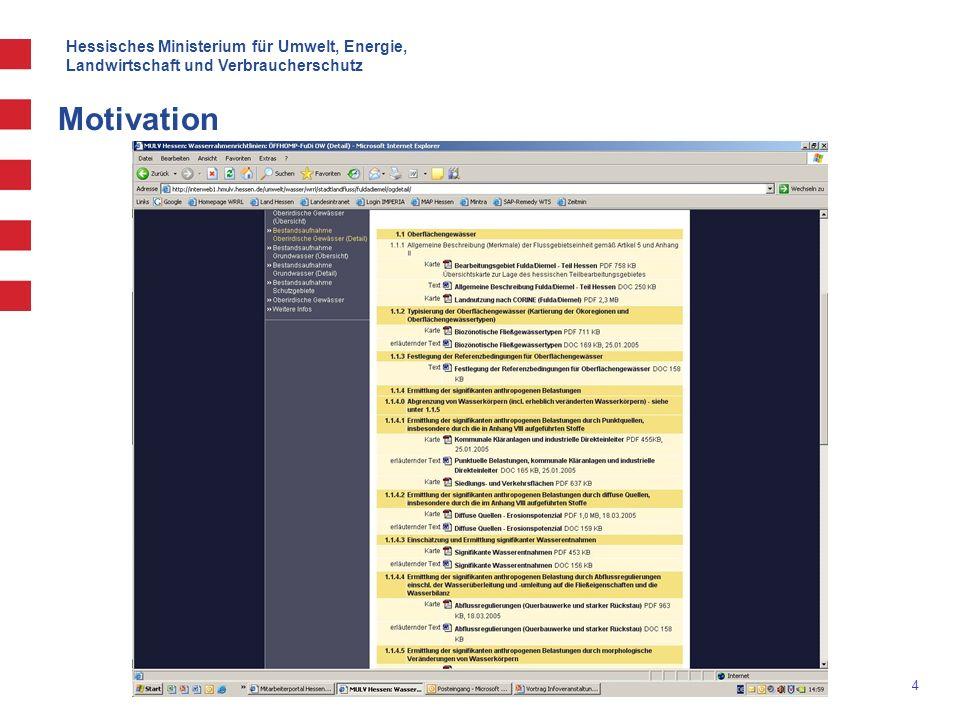 Hessisches Ministerium für Umwelt, Energie, Landwirtschaft und Verbraucherschutz 5 Motivation Für die weitere Umsetzung der Richtlinie ist eine flexiblere Betrachtung der Daten ist erforderlich, sowohl für Fachleute als auch für die Öffentlichkeit