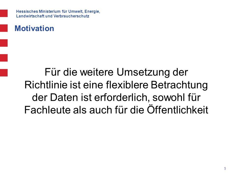 Hessisches Ministerium für Umwelt, Energie, Landwirtschaft und Verbraucherschutz 5 Motivation Für die weitere Umsetzung der Richtlinie ist eine flexib