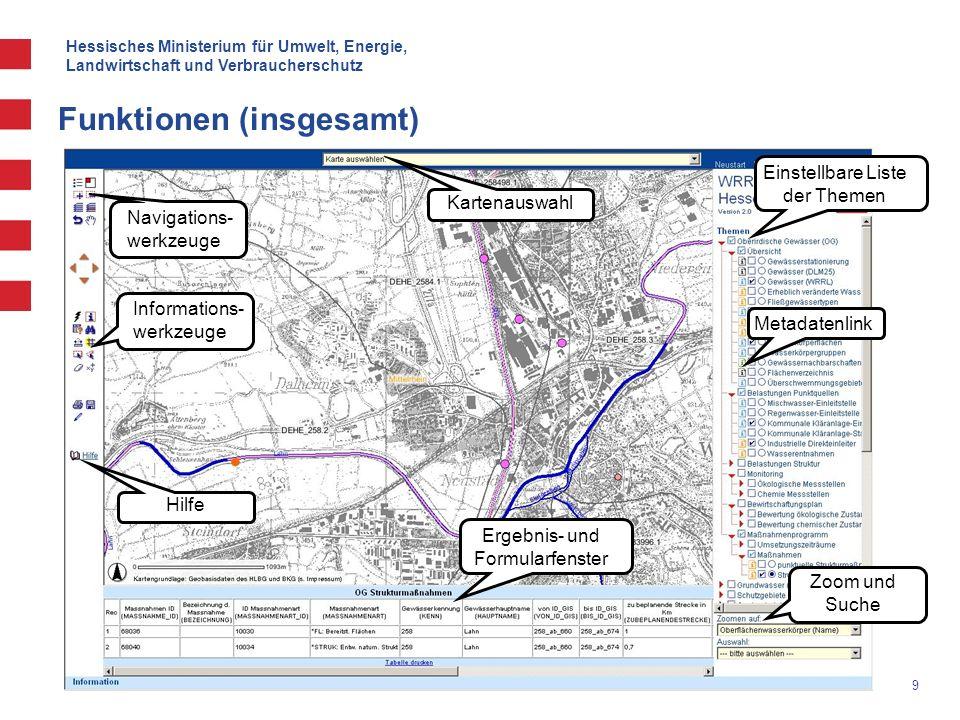 Hessisches Ministerium für Umwelt, Energie, Landwirtschaft und Verbraucherschutz 20 Funktionen (Hilfefunktion) Ausführliche Hilfe