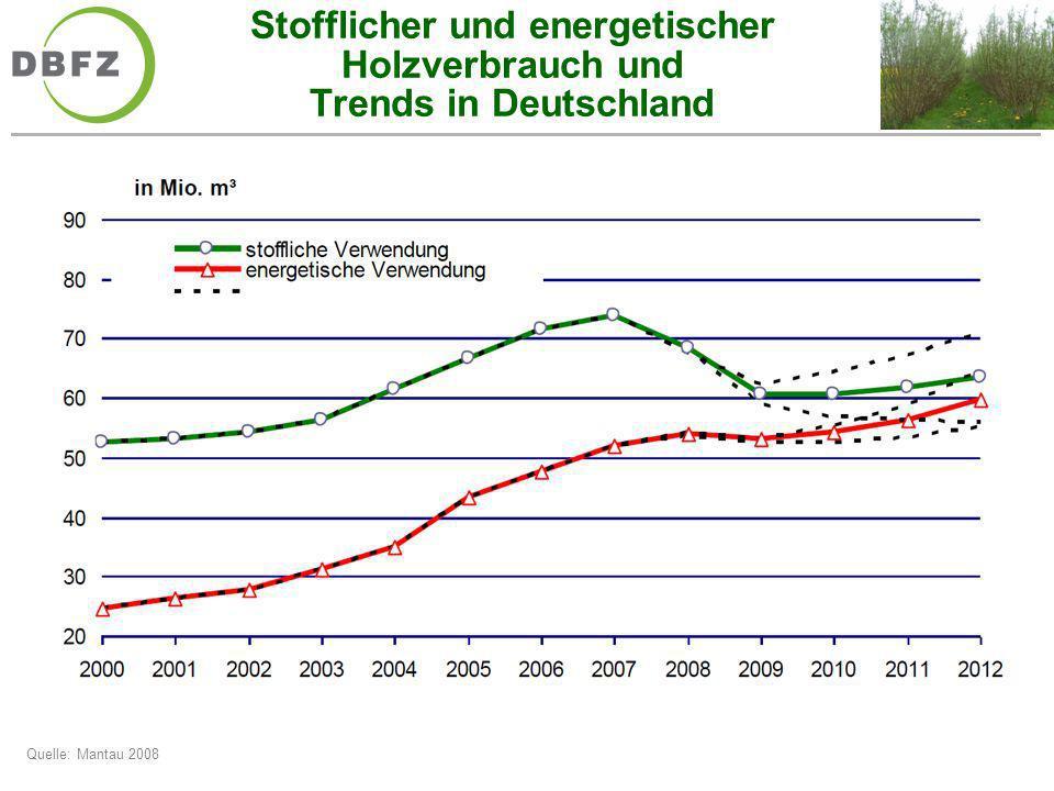 Stofflicher und energetischer Holzverbrauch und Trends in Deutschland Quelle: Mantau 2008