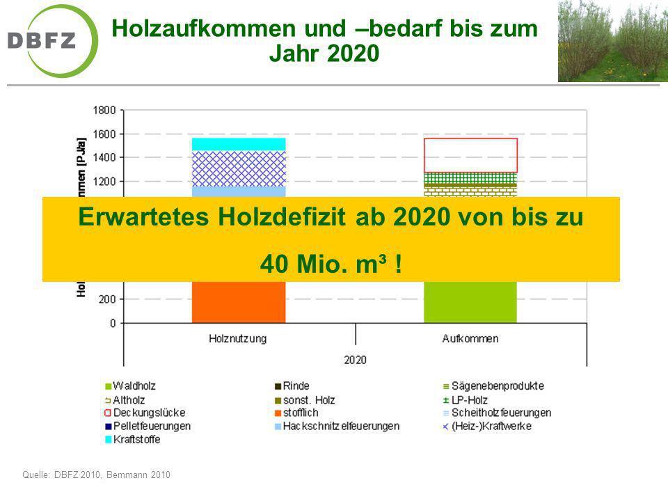 Holzaufkommen und –bedarf bis zum Jahr 2020 Erwartetes Holzdefizit ab 2020 von bis zu 40 Mio. m³ ! Quelle: DBFZ 2010, Bemmann 2010