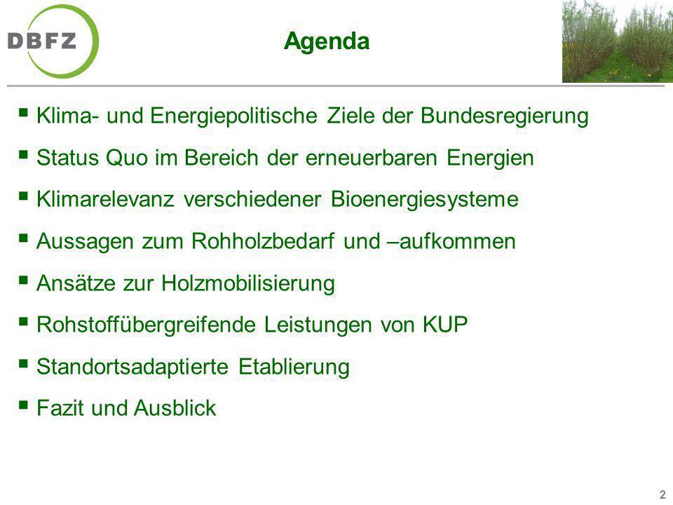 2 Agenda Klima- und Energiepolitische Ziele der Bundesregierung Status Quo im Bereich der erneuerbaren Energien Klimarelevanz verschiedener Bioenergie