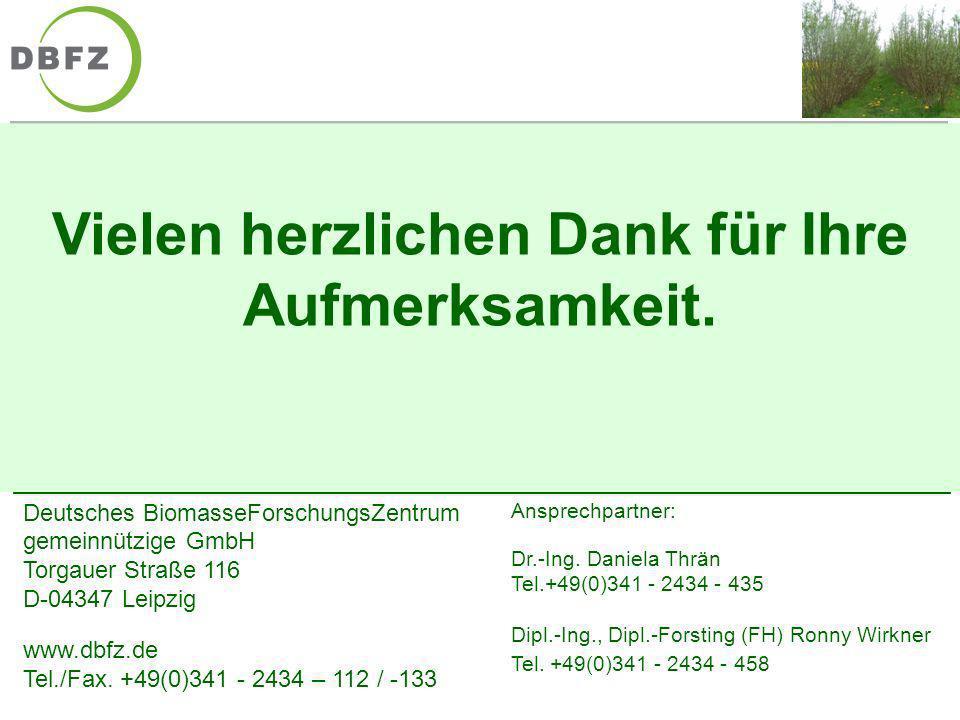 Deutsches BiomasseForschungsZentrum gemeinnützige GmbH Torgauer Straße 116 D-04347 Leipzig www.dbfz.de Tel./Fax. +49(0)341 - 2434 – 112 / -133 Ansprec