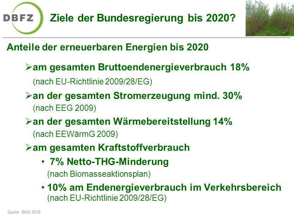 Ziele der Bundesregierung bis 2020? Anteile der erneuerbaren Energien bis 2020 am gesamten Bruttoendenergieverbrauch 18% (nach EU-Richtlinie 2009/28/E