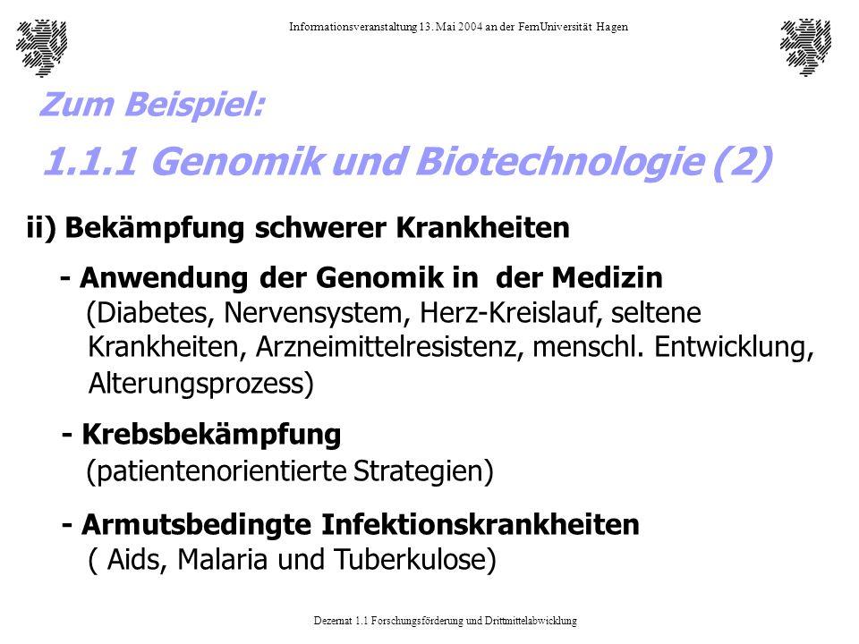 Dezernat 1.1 Forschungsförderung und Drittmittelabwicklung Informationsveranstaltung 13. Mai 2004 an der FernUniversität Hagen ii) Bekämpfung schwerer
