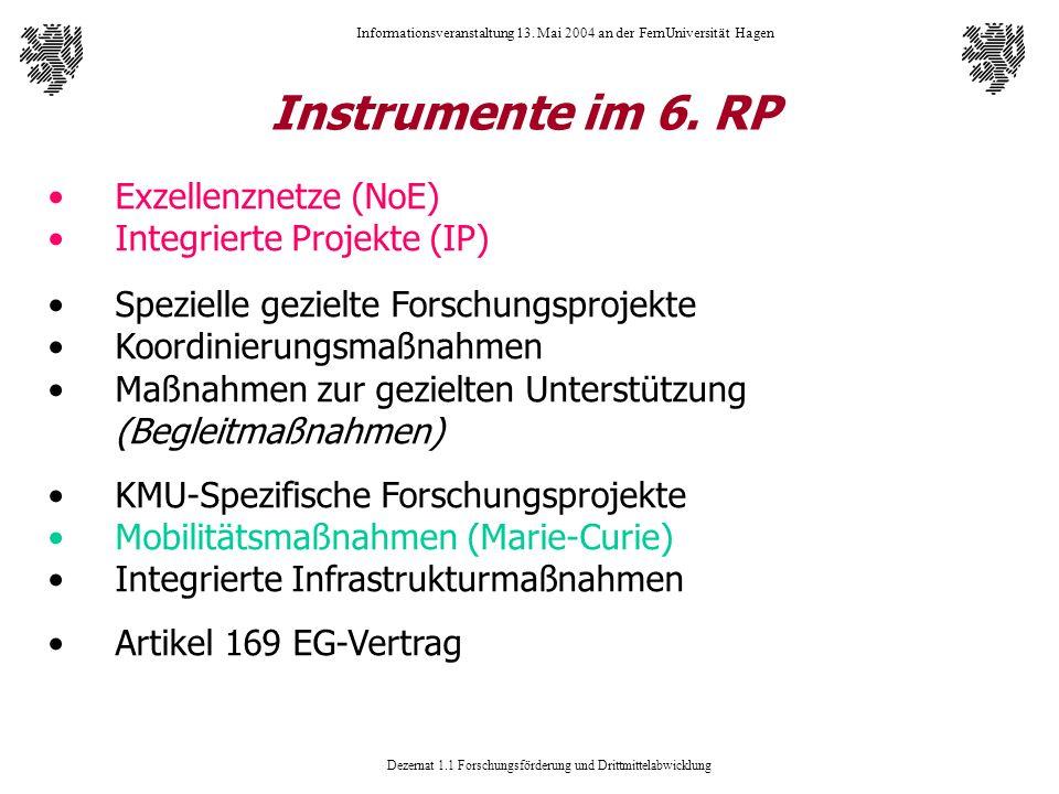 Dezernat 1.1 Forschungsförderung und Drittmittelabwicklung Informationsveranstaltung 13. Mai 2004 an der FernUniversität Hagen Instrumente im 6. RP Ex