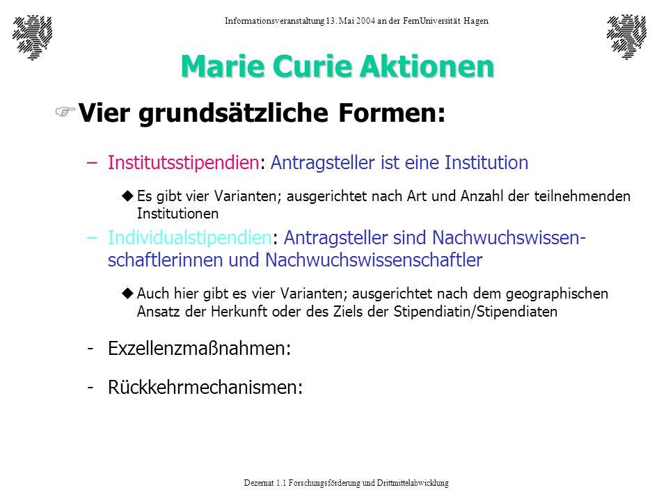 Dezernat 1.1 Forschungsförderung und Drittmittelabwicklung Informationsveranstaltung 13. Mai 2004 an der FernUniversität Hagen Marie Curie Aktionen FV