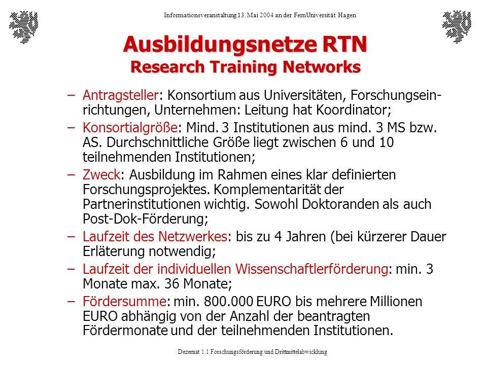 Dezernat 1.1 Forschungsförderung und Drittmittelabwicklung Informationsveranstaltung 13. Mai 2004 an der FernUniversität Hagen Ausbildungsnetze RTN Re