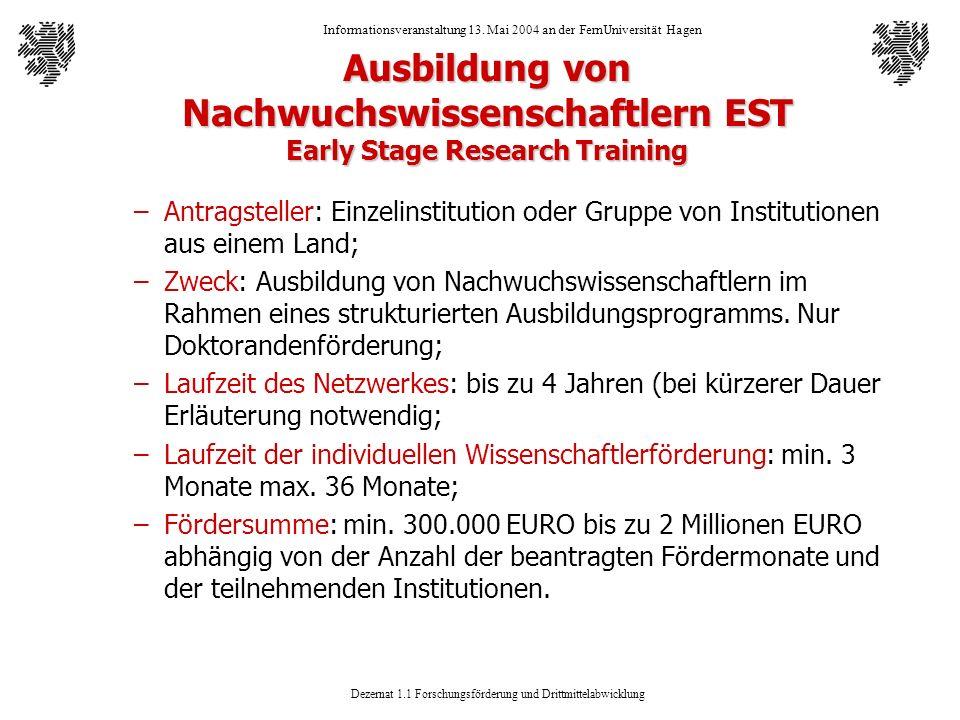 Dezernat 1.1 Forschungsförderung und Drittmittelabwicklung Informationsveranstaltung 13. Mai 2004 an der FernUniversität Hagen Ausbildung von Nachwuch