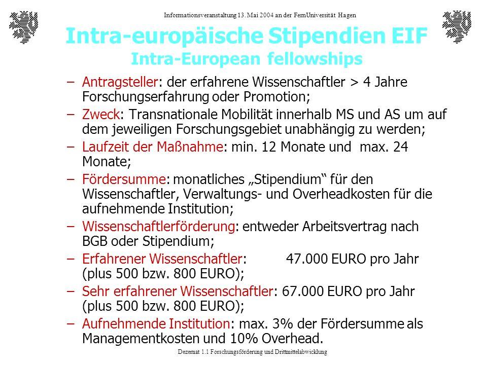 Dezernat 1.1 Forschungsförderung und Drittmittelabwicklung Informationsveranstaltung 13. Mai 2004 an der FernUniversität Hagen Intra-europäische Stipe