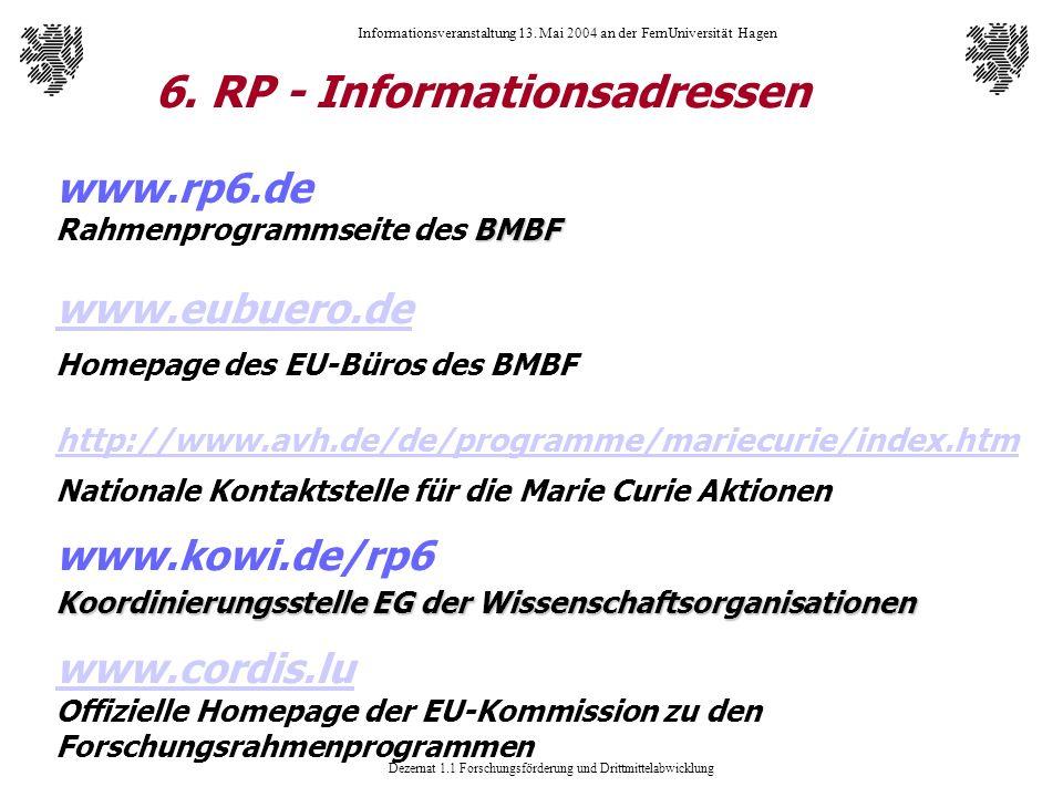 Dezernat 1.1 Forschungsförderung und Drittmittelabwicklung Informationsveranstaltung 13. Mai 2004 an der FernUniversität Hagen 6. RP - Informationsadr