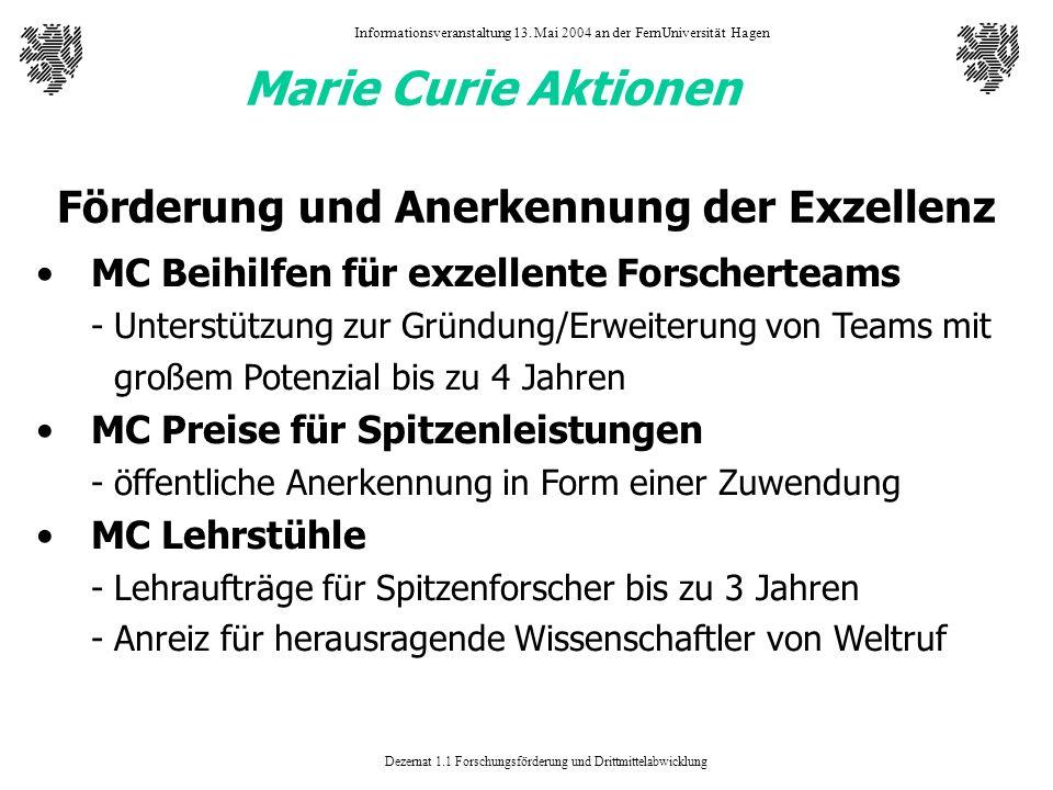 Dezernat 1.1 Forschungsförderung und Drittmittelabwicklung Informationsveranstaltung 13. Mai 2004 an der FernUniversität Hagen Marie Curie Aktionen Fö