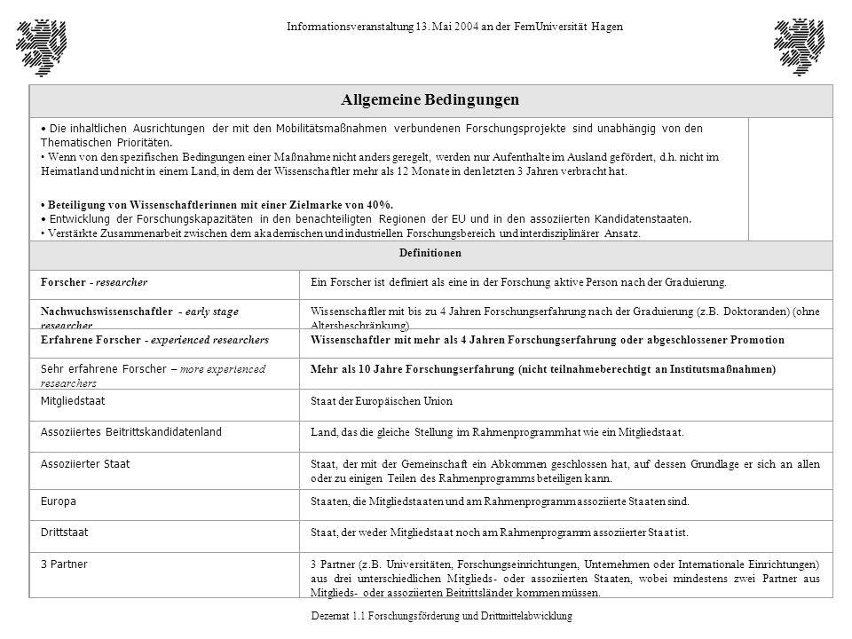 Dezernat 1.1 Forschungsförderung und Drittmittelabwicklung Informationsveranstaltung 13. Mai 2004 an der FernUniversität Hagen Allgemeine Bedingungen