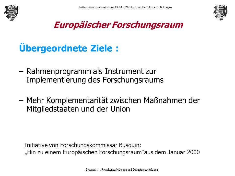 Dezernat 1.1 Forschungsförderung und Drittmittelabwicklung Informationsveranstaltung 13. Mai 2004 an der FernUniversität Hagen Europäischer Forschungs