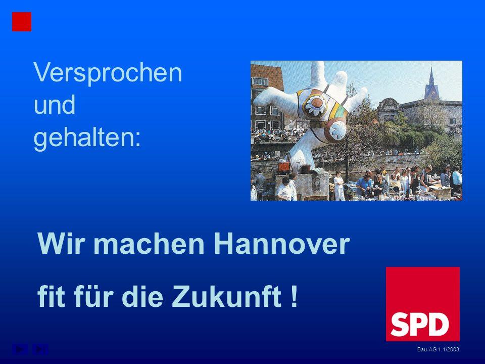 Bau-AG 1.1/2003 Versprochen und gehalten: Wir machen Hannover fit für die Zukunft !