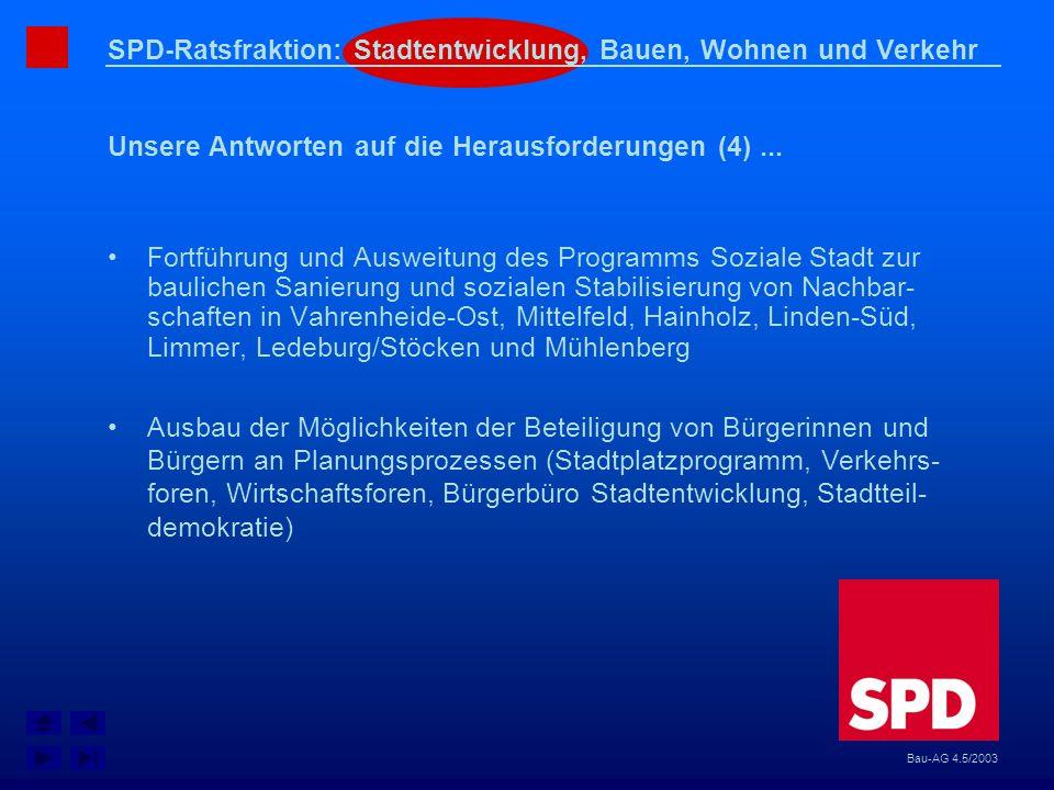 SPD-Ratsfraktion: Stadtentwicklung, Bauen, Wohnen und Verkehr Unsere Antworten auf die Herausforderungen (4)... Bau-AG 4.5/2003 Fortführung und Auswei