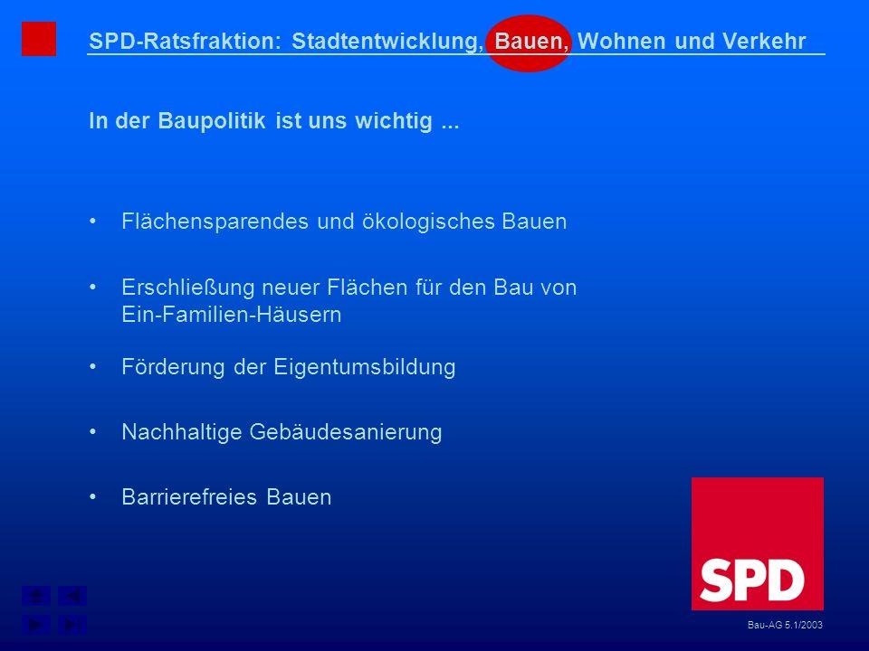 SPD-Ratsfraktion: Stadtentwicklung, Bauen, Wohnen und Verkehr In der Baupolitik ist uns wichtig... Bau-AG 5.1/2003 Erschließung neuer Flächen für den
