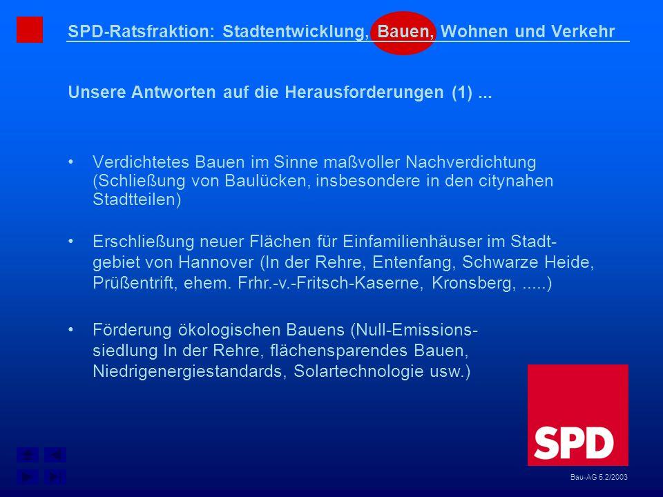 SPD-Ratsfraktion: Stadtentwicklung, Bauen, Wohnen und Verkehr Unsere Antworten auf die Herausforderungen (1)... Bau-AG 5.2/2003 Verdichtetes Bauen im