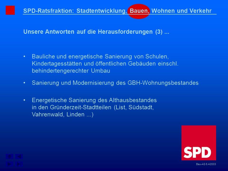 SPD-Ratsfraktion: Stadtentwicklung, Bauen, Wohnen und Verkehr Unsere Antworten auf die Herausforderungen (3)... Bau-AG 5.4/2003 Bauliche und energetis