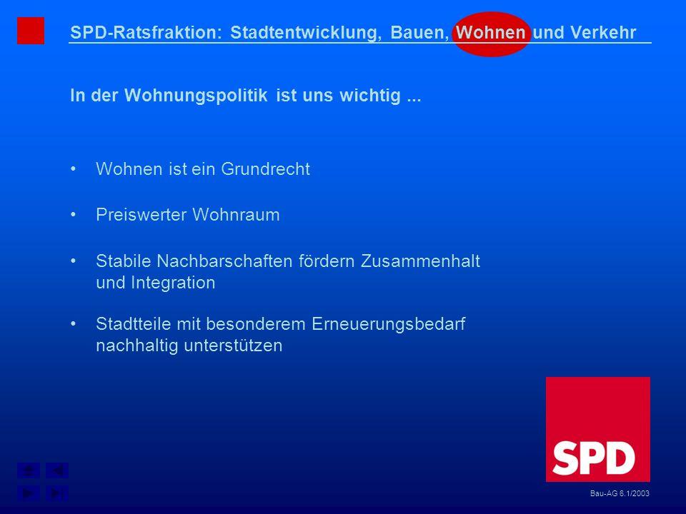 SPD-Ratsfraktion: Stadtentwicklung, Bauen, Wohnen und Verkehr In der Wohnungspolitik ist uns wichtig... Bau-AG 6.1/2003 Wohnen ist ein Grundrecht Prei