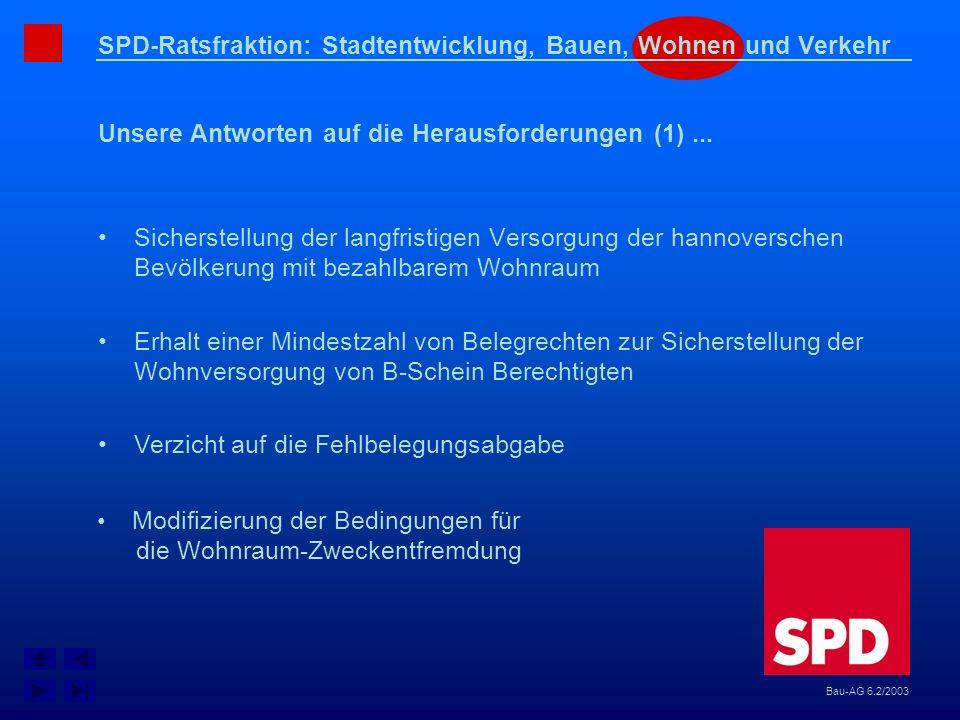 SPD-Ratsfraktion: Stadtentwicklung, Bauen, Wohnen und Verkehr Unsere Antworten auf die Herausforderungen (1)... Bau-AG 6.2/2003 Sicherstellung der lan