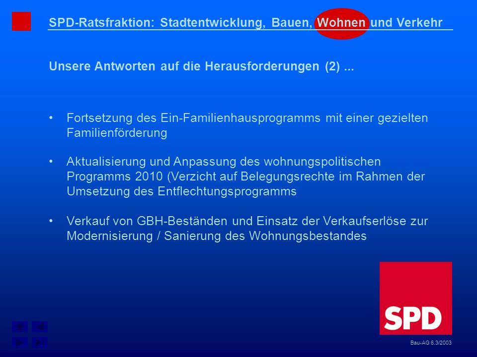 SPD-Ratsfraktion: Stadtentwicklung, Bauen, Wohnen und Verkehr Unsere Antworten auf die Herausforderungen (2)... Bau-AG 6.3/2003 Fortsetzung des Ein-Fa