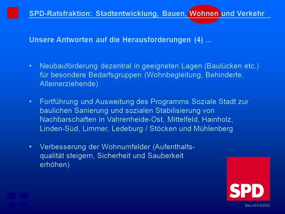 SPD-Ratsfraktion: Stadtentwicklung, Bauen, Wohnen und Verkehr Unsere Antworten auf die Herausforderungen (4)... Bau-AG 6.5/2003 Neubauförderung dezent