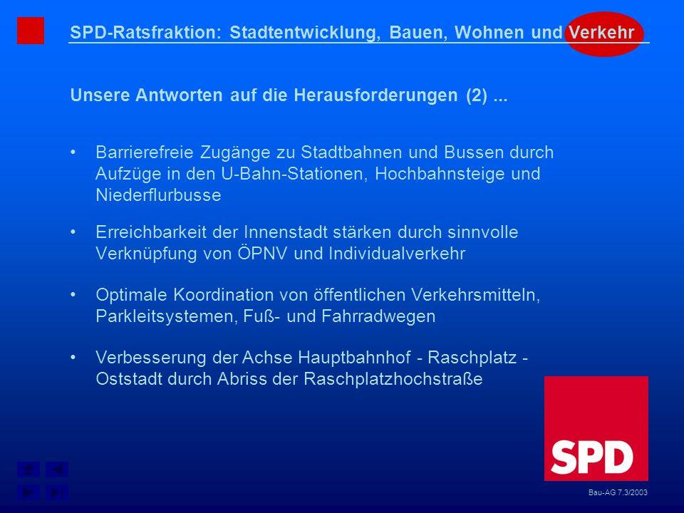SPD-Ratsfraktion: Stadtentwicklung, Bauen, Wohnen und Verkehr Unsere Antworten auf die Herausforderungen (2)... Bau-AG 7.3/2003 Erreichbarkeit der Inn