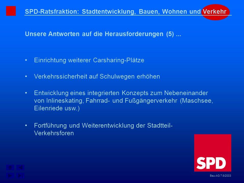 SPD-Ratsfraktion: Stadtentwicklung, Bauen, Wohnen und Verkehr Unsere Antworten auf die Herausforderungen (5)... Bau-AG 7.6/2003 Einrichtung weiterer C