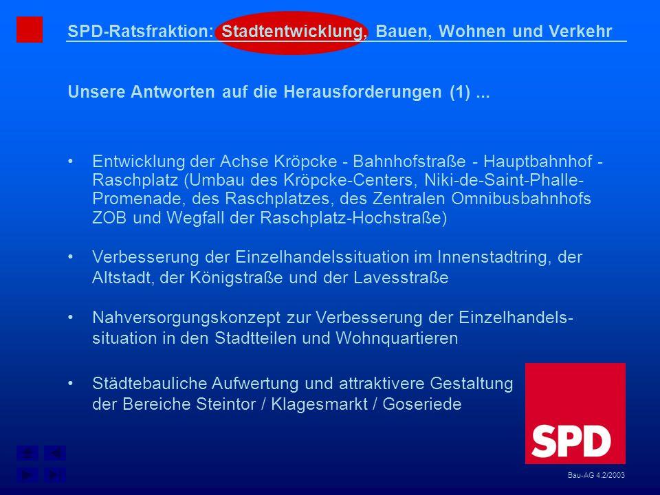 SPD-Ratsfraktion: Stadtentwicklung, Bauen, Wohnen und Verkehr Unsere Antworten auf die Herausforderungen (1)... Bau-AG 4.2/2003 Entwicklung der Achse