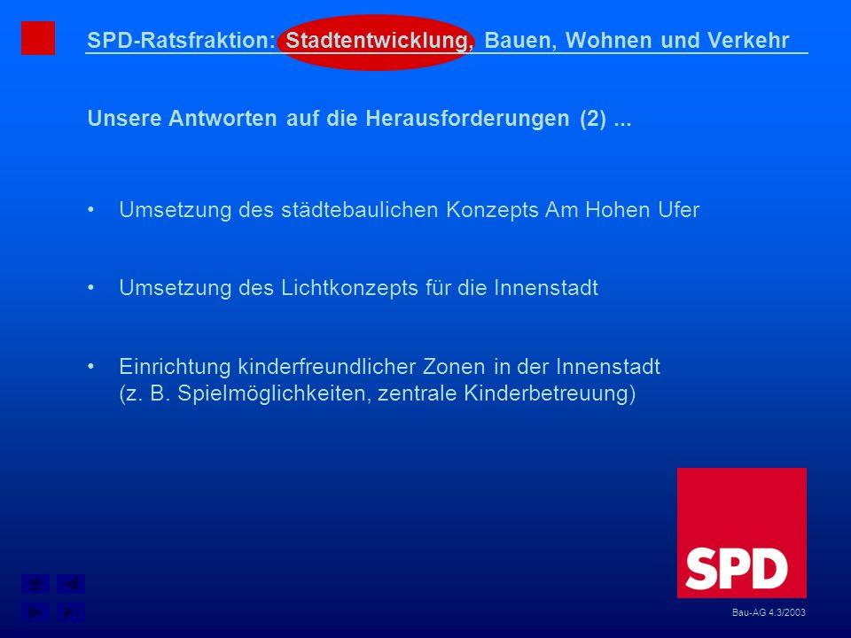 SPD-Ratsfraktion: Stadtentwicklung, Bauen, Wohnen und Verkehr Unsere Antworten auf die Herausforderungen (2)... Bau-AG 4.3/2003 Umsetzung des städteba