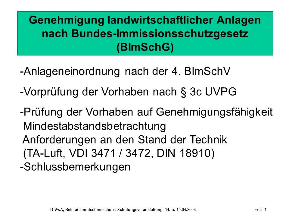 Geflügel Schwellenwerte für die Genehmigungsbedürftigkeit nach BImSchG Folie 2 TLVwA, Referat Immissionsschutz, Schulungsveranstaltung 14.