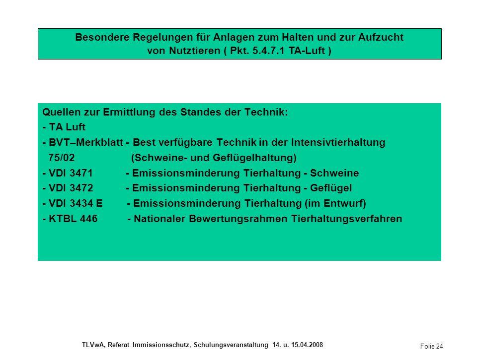 Quellen zur Ermittlung des Standes der Technik: - TA Luft - BVT–Merkblatt - Best verfügbare Technik in der Intensivtierhaltung 75/02 (Schweine- und Geflügelhaltung) - VDI 3471 - Emissionsminderung Tierhaltung - Schweine - VDI 3472 - Emissionsminderung Tierhaltung - Geflügel - VDI 3434 E - Emissionsminderung Tierhaltung (im Entwurf) - KTBL 446 - Nationaler Bewertungsrahmen Tierhaltungsverfahren Besondere Regelungen für Anlagen zum Halten und zur Aufzucht von Nutztieren ( Pkt.
