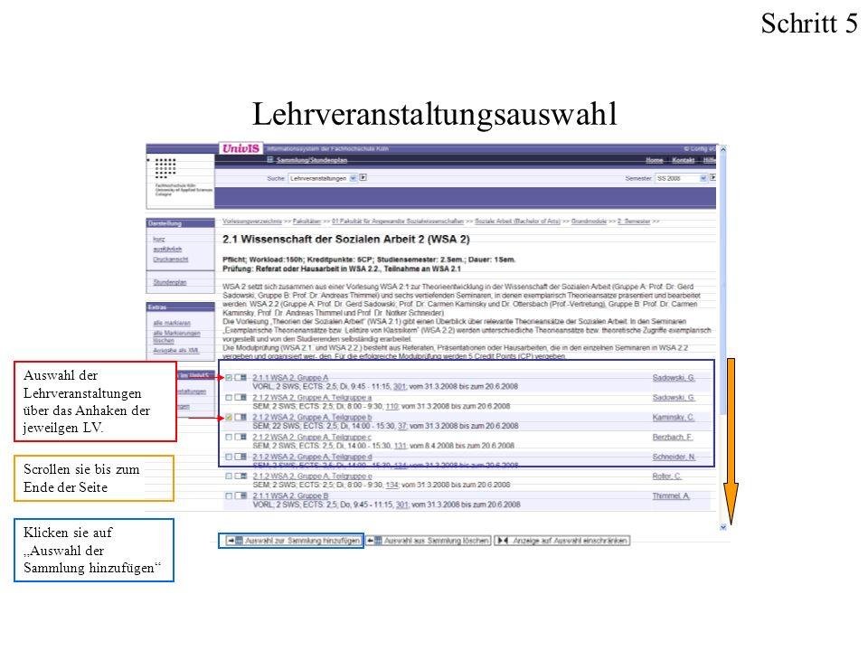 Auswahl der Lehrveranstaltungen über das Anhaken der jeweilgen LV. Lehrveranstaltungsauswahl Scrollen sie bis zum Ende der Seite Klicken sie auf Auswa